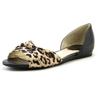 Marc Fisher Dalan 4 Women Peep-Toe Leather Black Flats