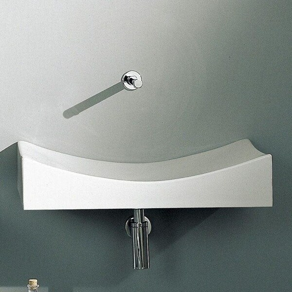 "Nameeks 8038 Scarabeo 35-3/8"" Ceramic Wall Mounted / Vessel Bathroom Sink - White / No Hole"