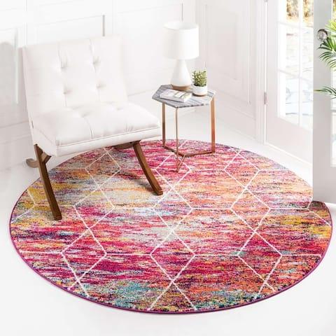 Unique Loom Geometric Trellis Frieze Area Rug