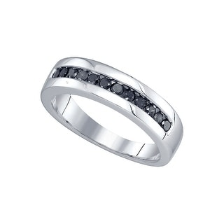 10kt White Gold Mens Round Black Colored Diamond Band Wedding Anniversary Ring 1/2 Cttw