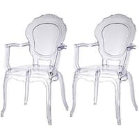 2xhome - Set of Two (2) - Clear - Modern Belle Transparent Chair Armchair With Arm Polycarbonate Plastic Clear Transparent - N/A