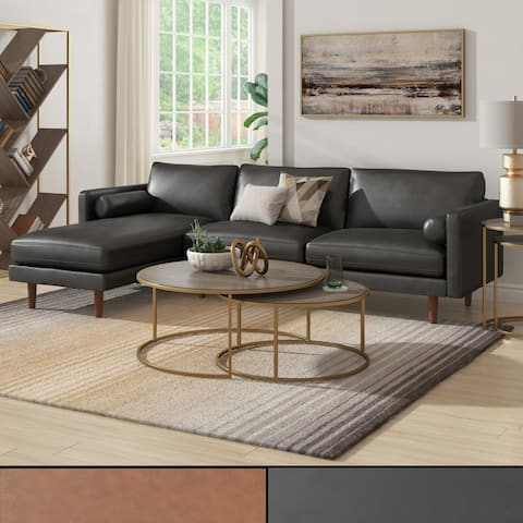 Oana Mid-Century Faux Leather Sectional Sofa by iNSPIRE Q Modern