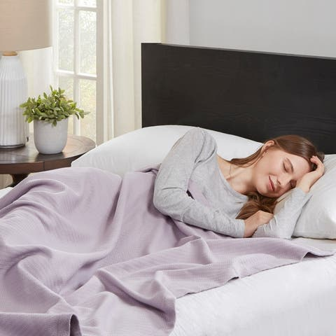 Madison Park Liquid Solid Colored Woven Cotton Blanket
