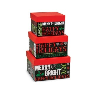 Pack of 1, Holiday Greetings Chalkboard Square 3 Piece Nested Boxes for Gift & Gourmet Packaging