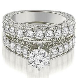 2.90 cttw. 14K White Gold Antique Cathedral Round Cut Diamond Engagement Set