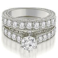 2.90 cttw. 14K White Gold Antique Cathedral Round Cut Diamond Engagement Set