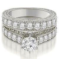 2.90 cttw. 14K White Gold Antique Cathedral Round Cut Diamond Engagement Set,HI,SI1-2