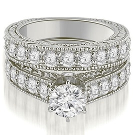 3.15 cttw. 14K White Gold Antique Cathedral Round Cut Diamond Engagement Set