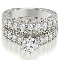3.15 cttw. 14K White Gold Antique Cathedral Round Cut Diamond Engagement Set,HI,SI1-2