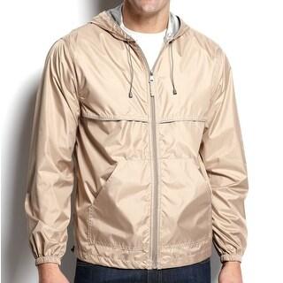 IZOD NEW Beige Tan Mens Size Small S Two-Pocket Hooded Rain Jacket