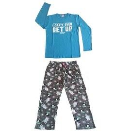 Women Cotton Top & Fleece Lined Pants Pajamas Set (Blue)
