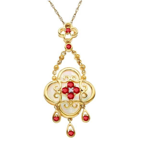3/8 ct Ruby and Natural Mother-of-Pearl Pendant in 10K Gold - Red