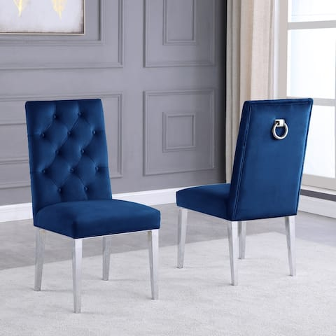Best Quality Furniture Velvet Button Tufted Side Chairs with Chrome Base