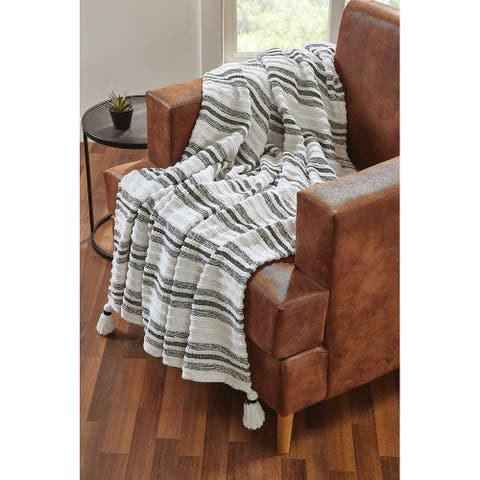Tahari Home Cassidy Woven Stripe Tassel Throw