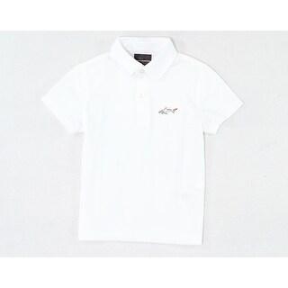 Greg Norman NEW White Boys Size Medium M (5-6) Pique-Knit Stretch Polo Shirt 254