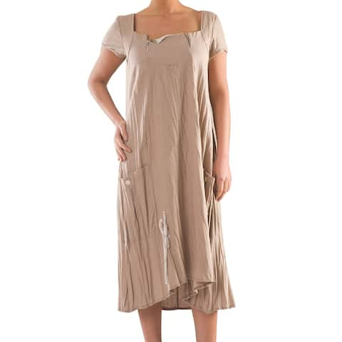 Linen Dress with Zipper - Women's Plus Size Dresses - Summer Dress - La Mouette Collection