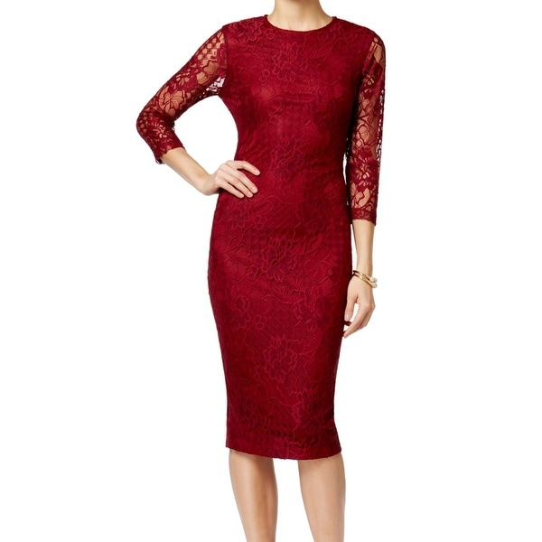 Jessica Simpson Wine Womens Floral Lace Sheath Dress