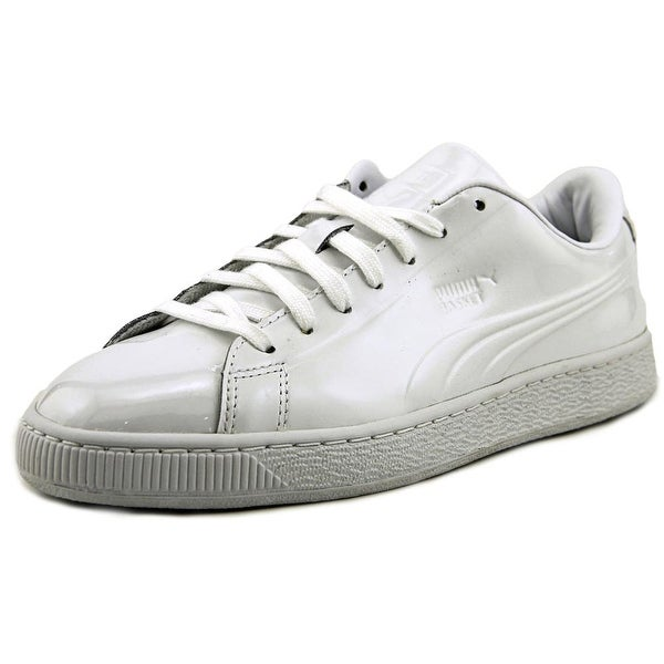 new style 9644d 2f19c Puma Basket Classic Patent Men Round Toe Patent Leather White Sneakers