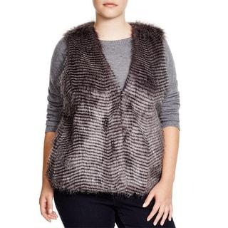 BB Dakota Womens Plus Vest Faux Fur Striped