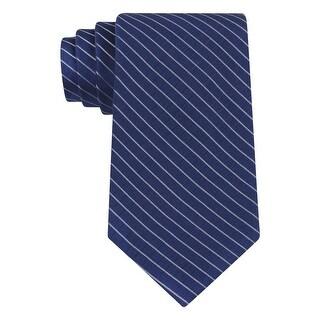Calvin Klein CK Blue Etched Windowpane Striped Slim Silk Tie Necktie