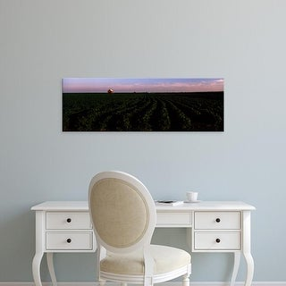 Easy Art Prints Panoramic Images's 'Spinach crop in a field with a barn in the background' Premium Canvas Art