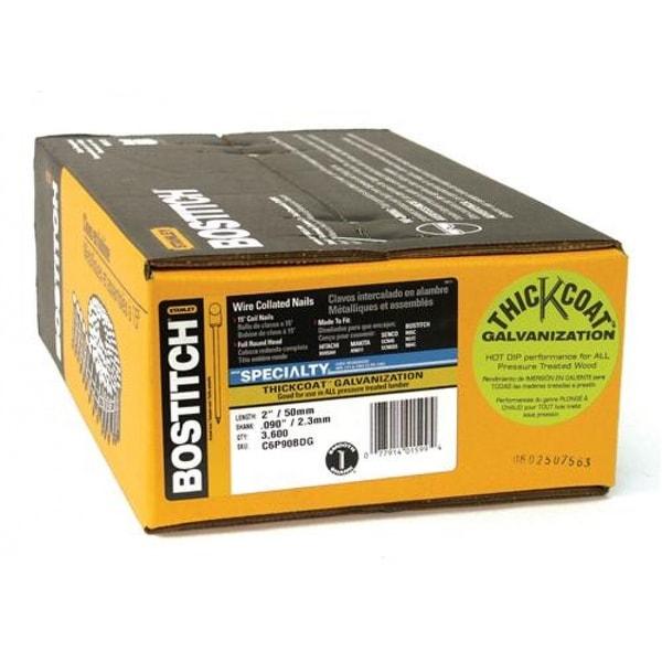"3600-Pack 2/"" x 0.092/"" Bostitch C6P90BDG Galvanized Shank Coil Siding Nails"