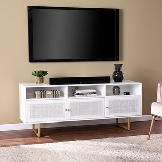 Strick & Bolton Madorra Transitional White Wood Media Cabinet