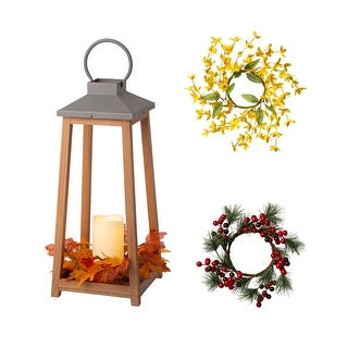 """Link to Glitzhome 19.3""""H Wooden and Metal Led Pillar Lantern with 3 Changeable Wreaths - 19""""H Similar Items in Decorative Accessories"""