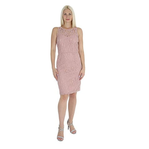 Marina Women's Sleeveless Lace Sheath Dress, Blush, 8