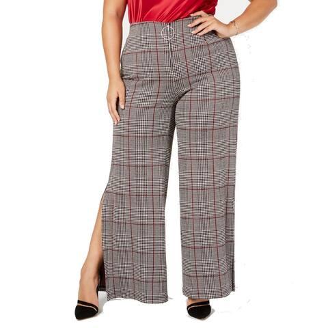 NY Collection Women's Gray Size 1X Plus Split Dress Pants Stretch