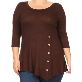 Women Plus Size Solid Button Asymmetric Knit Top Tee Blouse Shirt USA Brown 241B SD