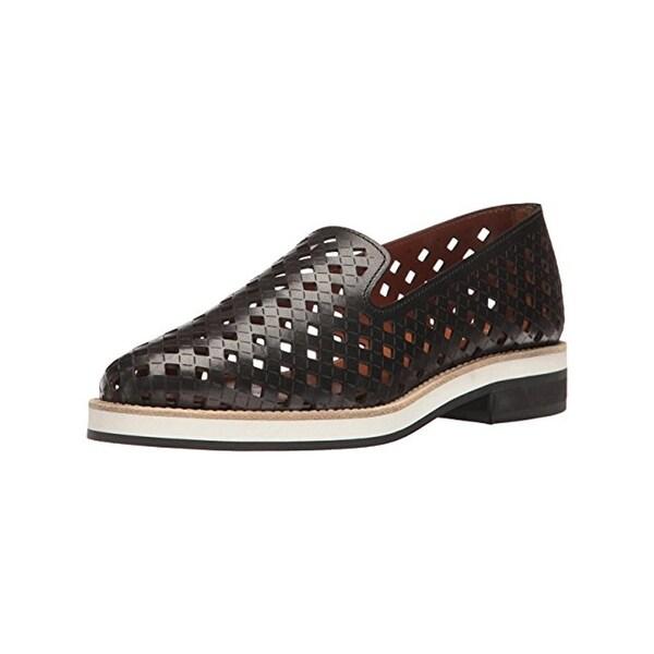 Aquatalia Womens Zanna Smoking Loafers Perforated Black 7.5 Medium (B,M) - 7.5 medium (b,m)