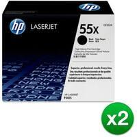 HP 55X High Yield Black Original LaserJet Toner Cartridge (CE255X)(2-Pack)