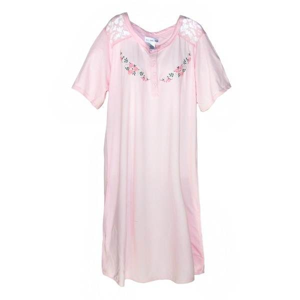 Sag Harbor Women's Plus Size Embroidered Nightshirt