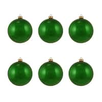 "6ct Pearl Xmas Green Glass Ball Christmas Ornaments 4"" (100mm)"