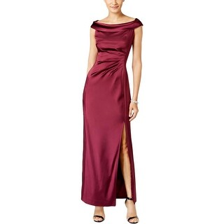 Tahari ASL Womens Evening Dress Satin Ruched