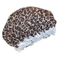 CTM® Women's Satin Leopard Hair Roller Sleep Cap Cover