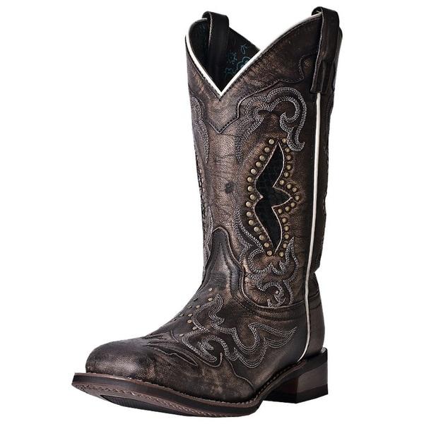 Laredo Western Boots Womens Snake Print Sanded Goat Black Tan