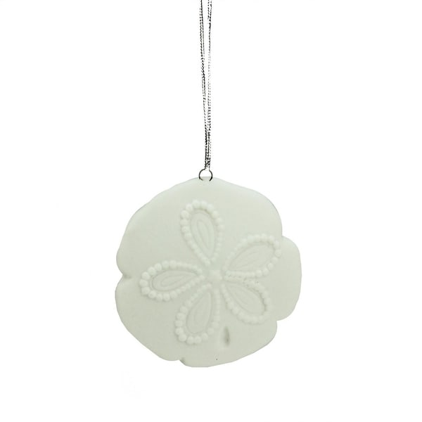 "2.5"" Under the Sea White Sand Dollar Shell Ceramic Christmas Ornament"