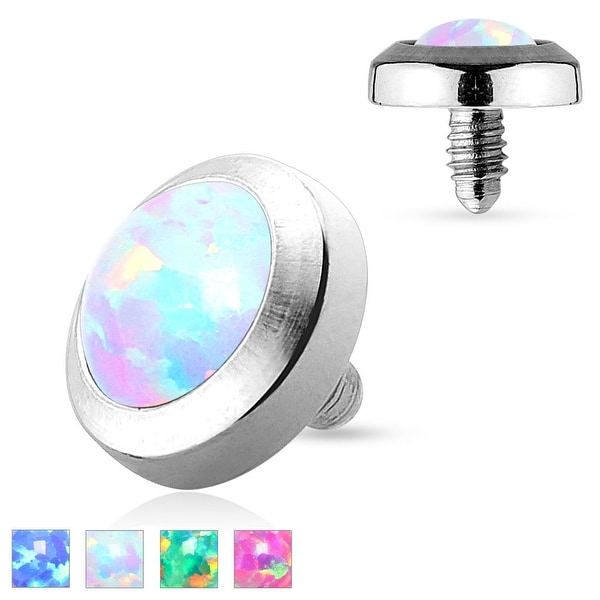 316L Surgical Steel Flat Dermal Anchor Top with Opal (Sold Ind.)