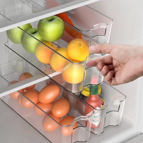 Costway Set of 4 Refrigerator Organizer Bins Stackable Kitchen Pantry Cabinet w/ Handle - Transparent