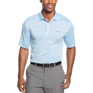 Greg Norman Performance Golf Polo Shirt Blue Belle and Olive Green Windowpanes