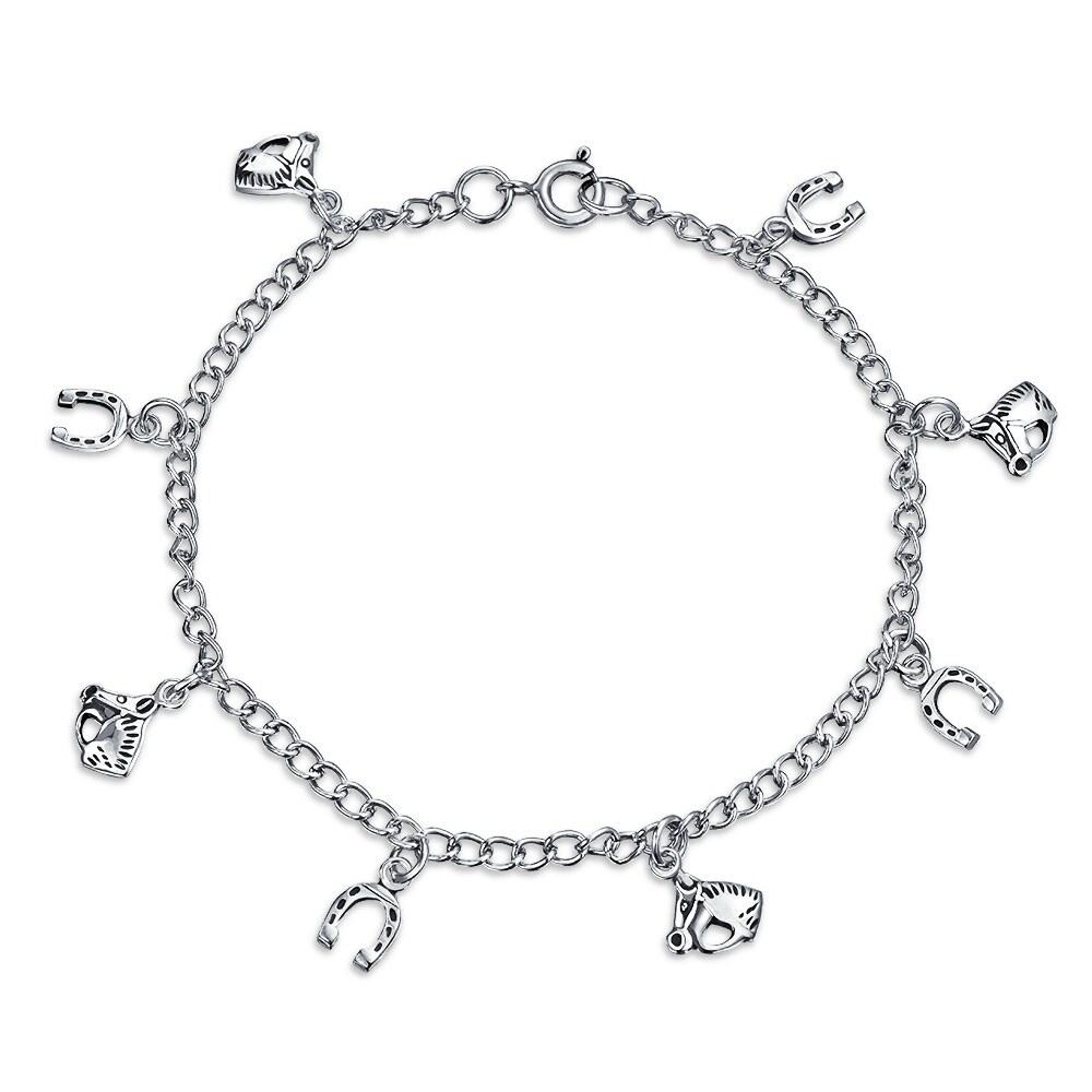 Sterling Silver Charm Bracelet 17 3-D Coeur Charms incl Open bouffi /& Fraise