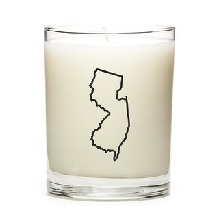 State Outline Candle, Premium Soy Wax, New-Jersey, Peach Belini