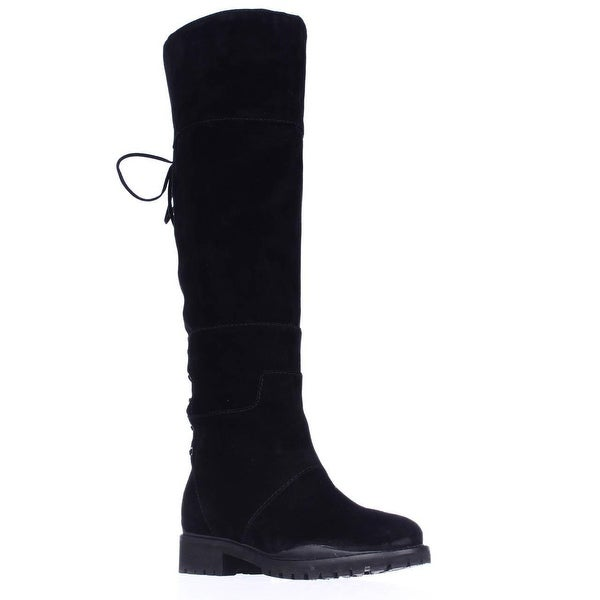 Nine West Mavira Lace Up Over-The-Knee Boots, Black