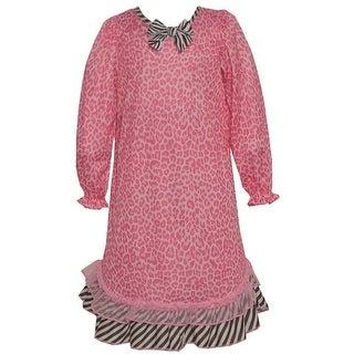 Laura Dare Little Girls Pink Leopard Print Zebra Ruffle Bow Nightgown 2T-6X