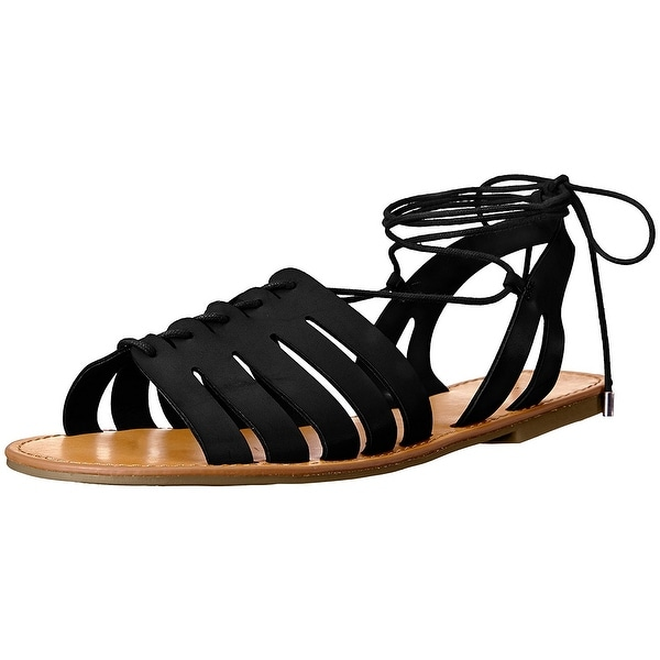 Indigo Rd. Womens Baku Round Toe Casual Gladiator Sandals, Black, Size 7.0