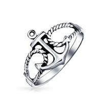 Bling Jewelry 925 Sterling Silver Nautical Rope Anchor Ring