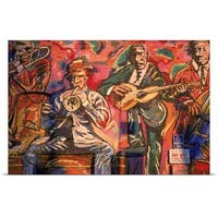 Poster Print entitled Artwork displaying men with musical instruments