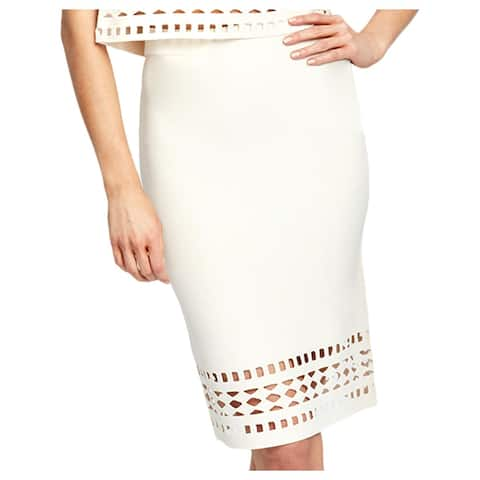 Rachel Rachel Roy Womens Pencil Skirt Laser Cut Ribbed Trim